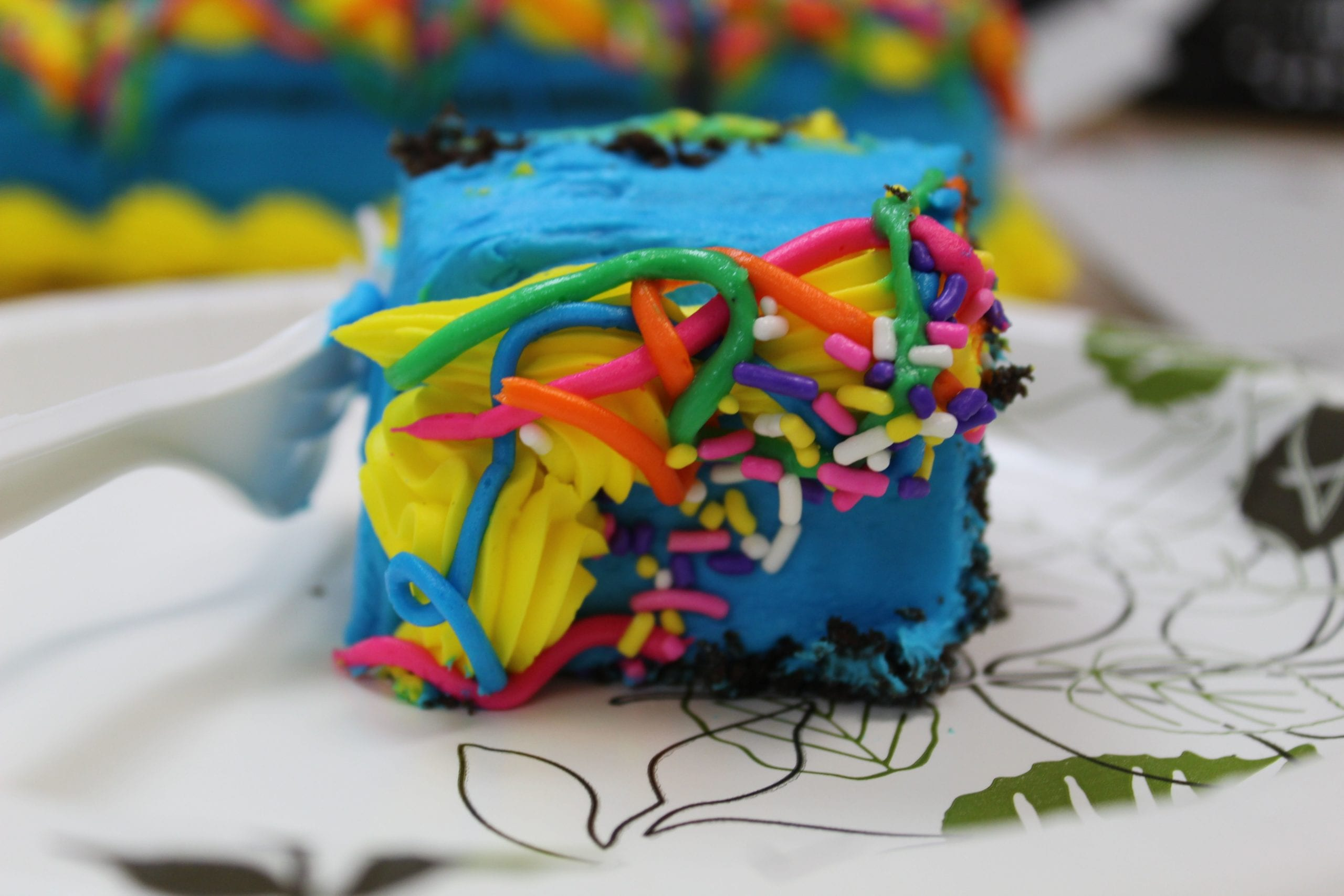 piece of cake with blue icing