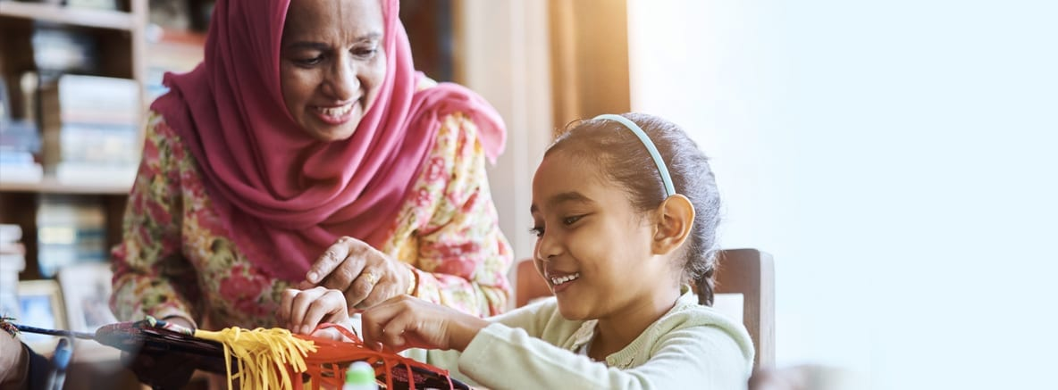 a picture of Muslim hijabi mother and daughter doing school craft work - It's for a blog post on the subject kids calendar in Ramadan