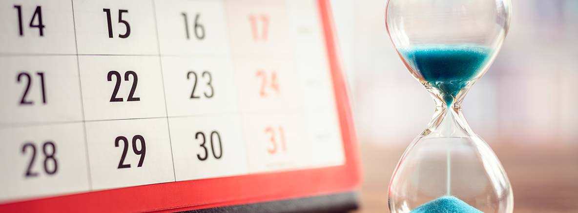 an image of a calendar with an hourly glass - The image for a home financing blog