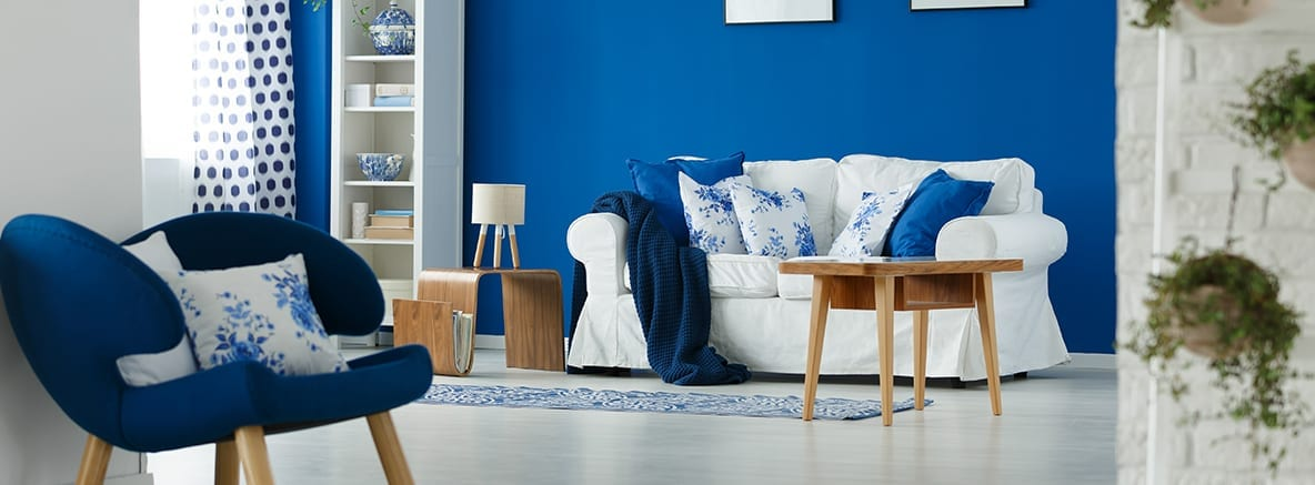 blue decor in a room